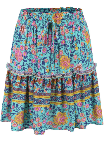 Aqua Boho Floral Withdraw Mini Skirt