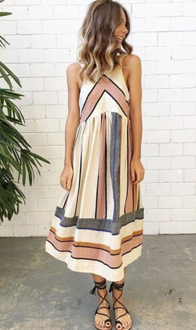 Multi Stripe Contrast Sleeveless Tank Midi Sundress