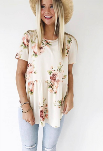 White Floral Short Sleeve Tee