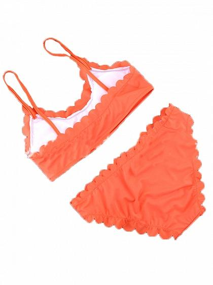 Orange Scallop Edge Bikini Top And Bottom