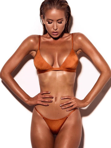 Orange Solid Minimal Triangle Bikini