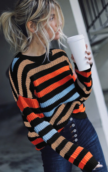 Black Striped Drop Shoulder Sweater