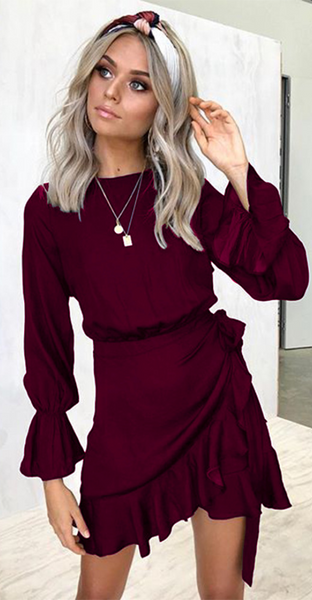 Burgundy Long Sleeve Waist Tie Dress