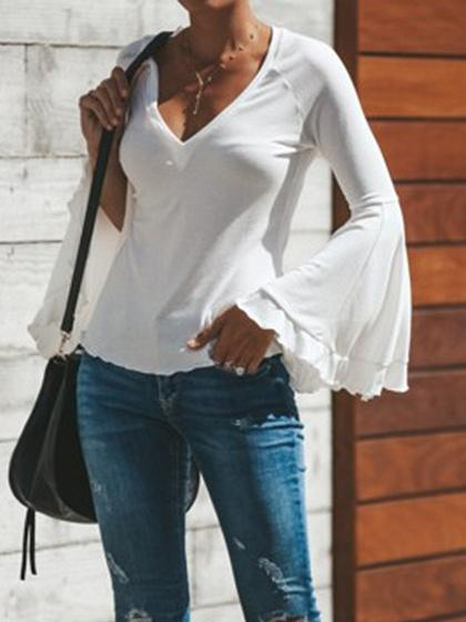 White V-neck Flare Sleeve Blouse