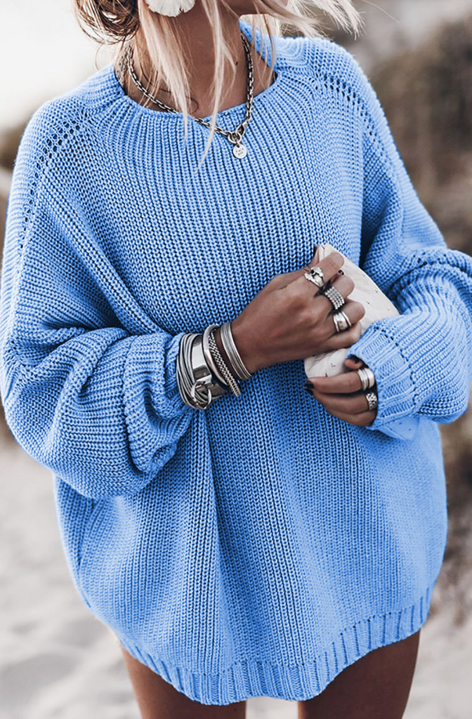 Blue Batwing Loose Fit Long Sweater