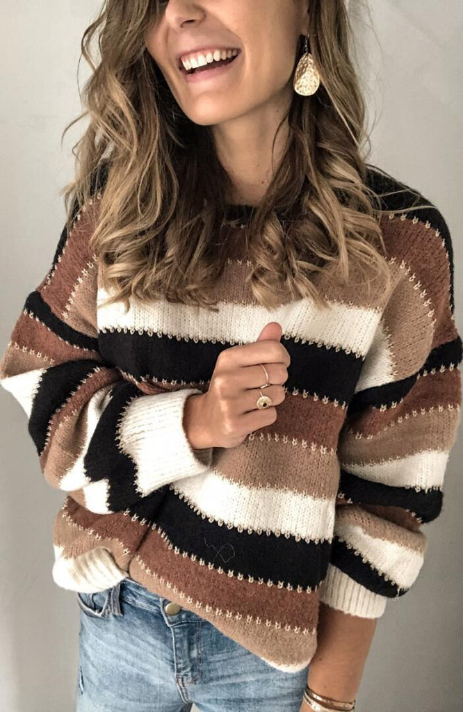 Black Brown Color Block Stripe Sweater