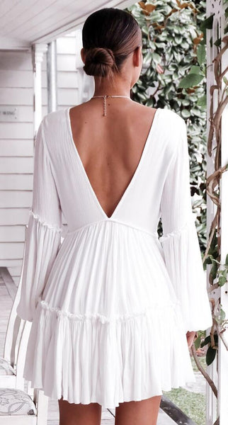 White Double V Neck Blouson Sleeve Dress