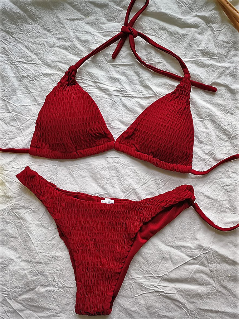 Burgundy Smocked Solid Triangle Bikini