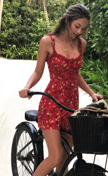 Red Floral Button Down Mini Dress