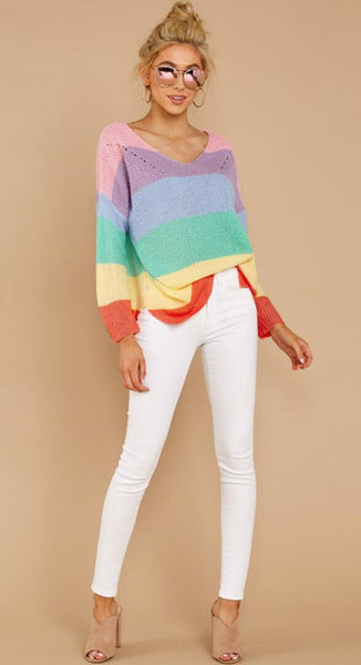Colorful Rainbow Stripe Print Sweater