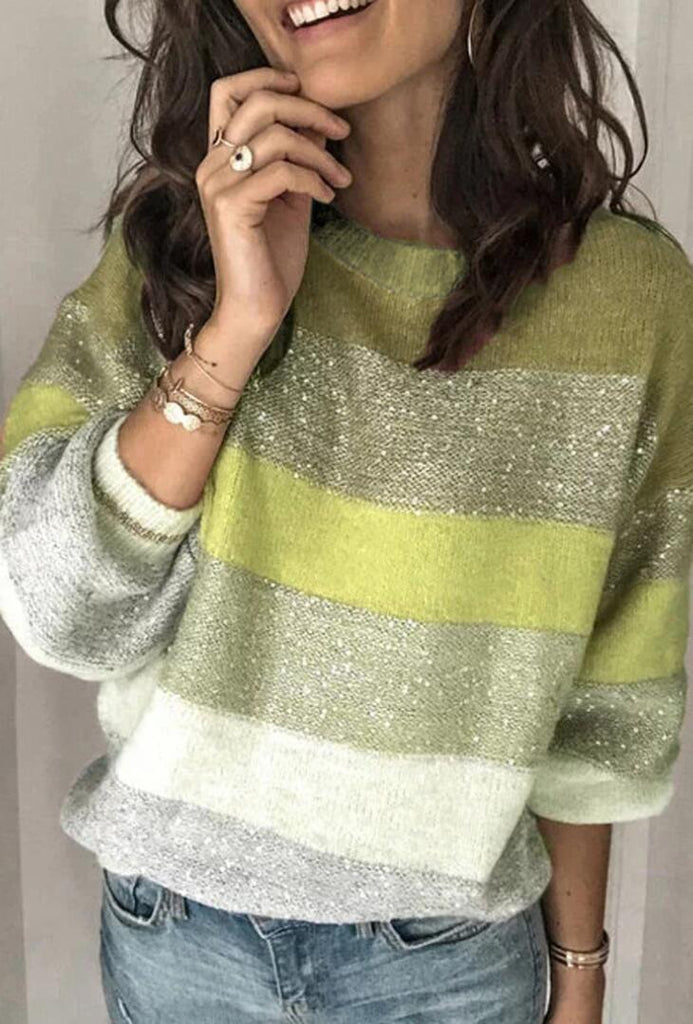 Green Sequin Stripe Pattern Sweater