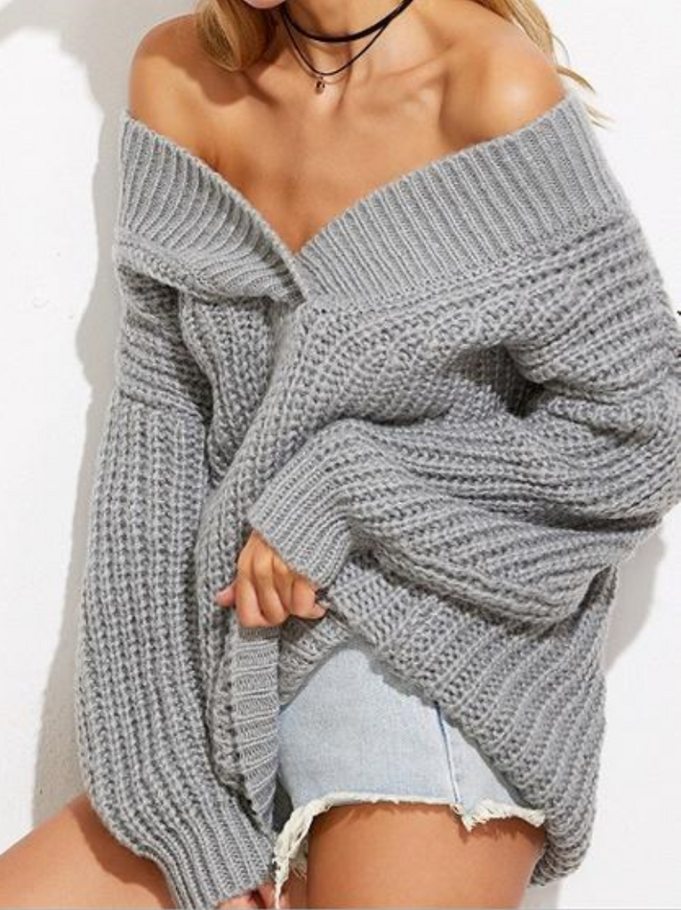 Gray Cold Shoulder V-neck Long Sleeve Chic Women Knit Sweater