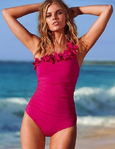 Hot Pink Bombshell Ruffled One Piece Swimsuit
