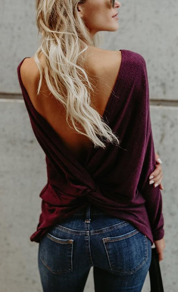 Long Sleeve Round Neck Backless T-shirt
