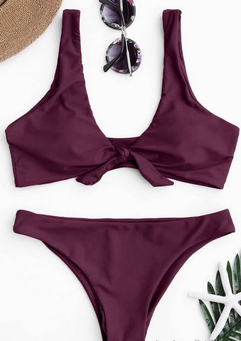 Purple Knot Bikini Bathing Suit