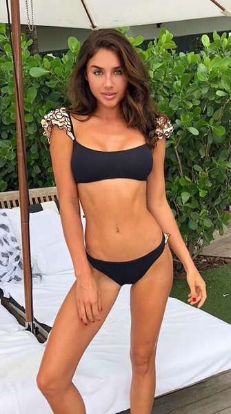 Black Frill Shoulder Cheeky Bikini Sets