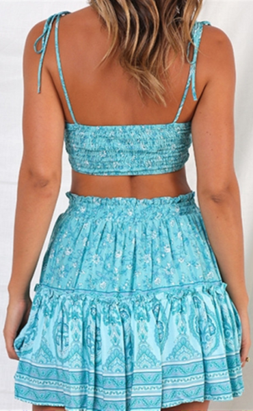 Teal Floral Crop Top and Skirt Matching Sets