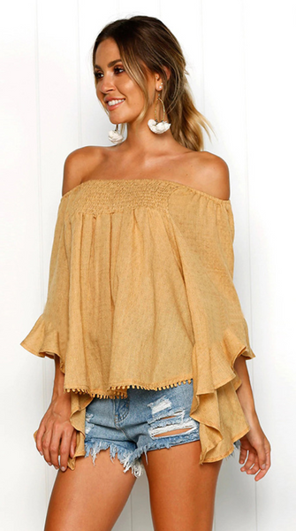 Yellow Smocked Off Shoulder Top