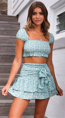 Green Floral Crop Top and Skirt Matching Sets