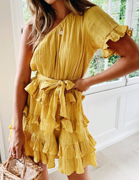 Yellow One Shoulder Waist-Tie Dress
