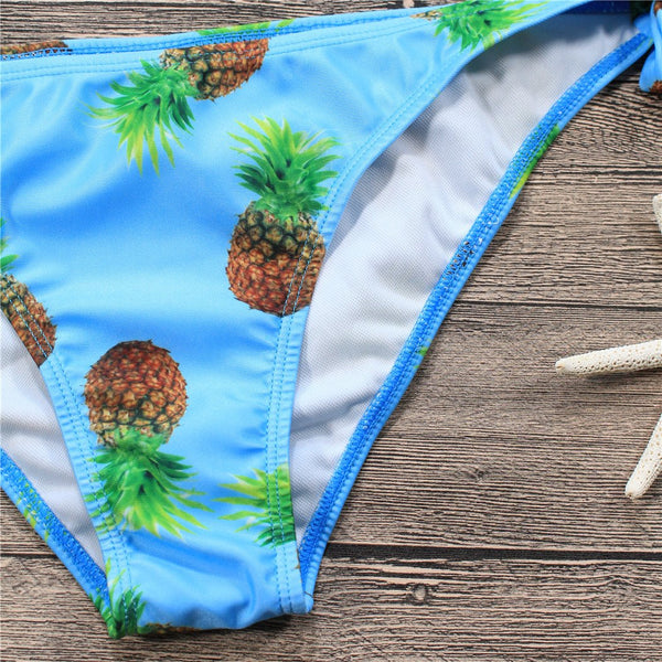Blue Pineapple Crossover Bikini Bathing Suits