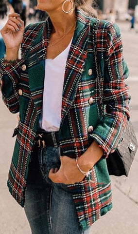 Green Tartan Plaid Wool Coat