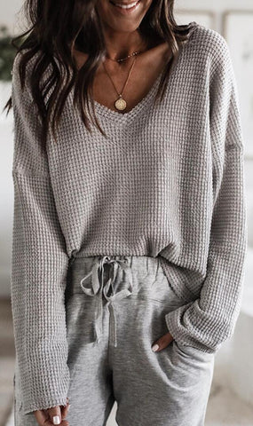 Gray V Neck Drop Shoulder Knit Top
