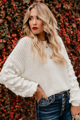 White Drop Shoulder Crop Sweater