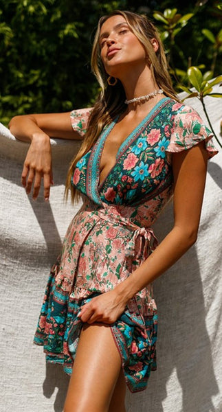 Teal Coral Floral Surplice Wrap Dress