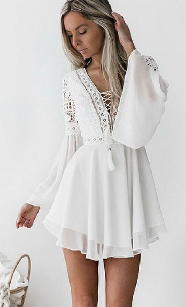 White Lace Up Chiffon Dress