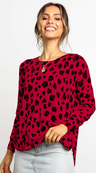 Red Animal Print Highl-Low Sweater