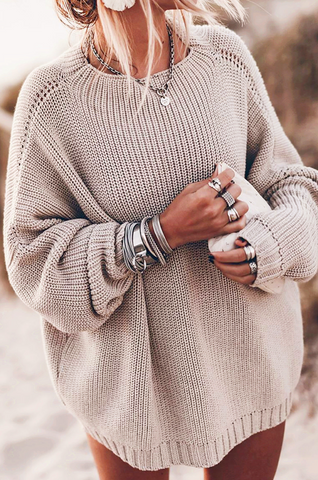 Khaki Batwing Loose Fit Long Sweater
