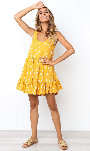 Yellow Polka Dot Print Shift Dress