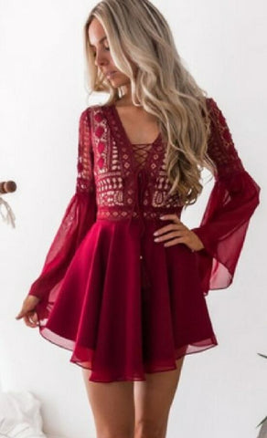 Red Lace Up Chiffon Dress