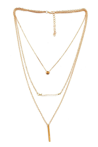 Beaded Triple-Layered Pendent Golden Necklace