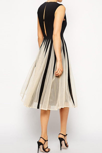 Chic Sleeveless Mesh Paneled Skater Dress