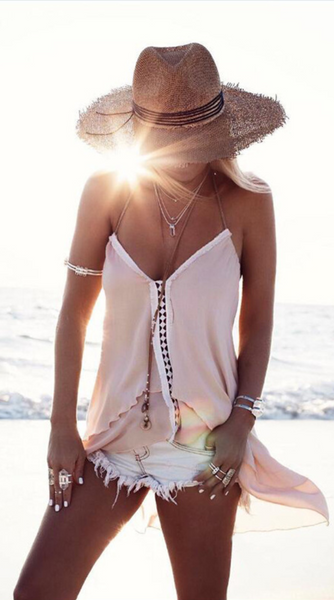 Nude High-Low Halter Camisole