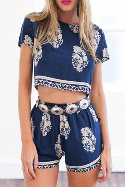 Navy Blue Floral Crop Top and Shorts Matching Sets