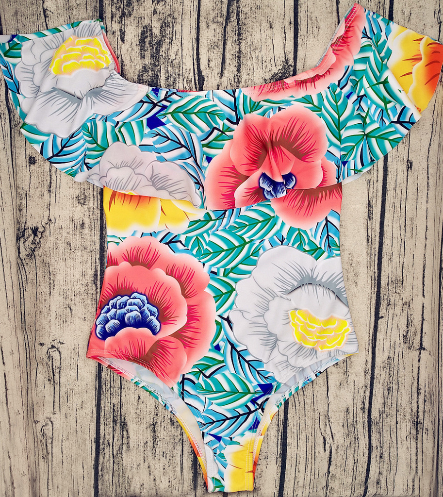 Light Me Up Floral Overlay One Piece Swimwear