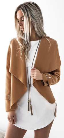 Camel Waterfall Woolen Jacket
