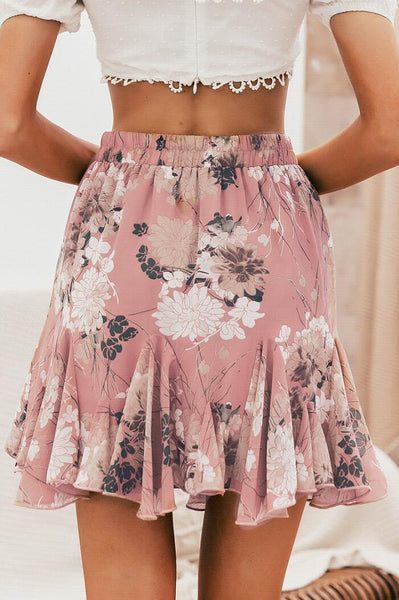 Demure Pink Floral Print Withdraw Mini Skirt