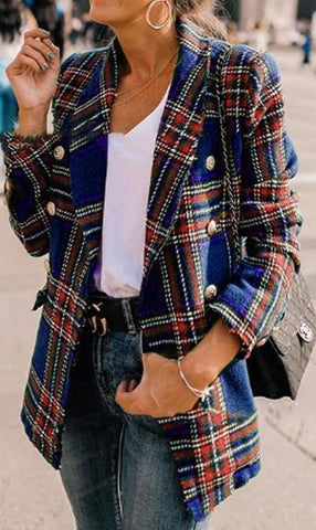 Royal Blue Tartan Plaid Wool Coat
