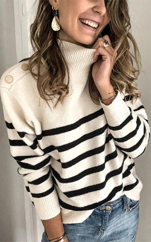 Beige Striped Buttoned Shoulder Sweater