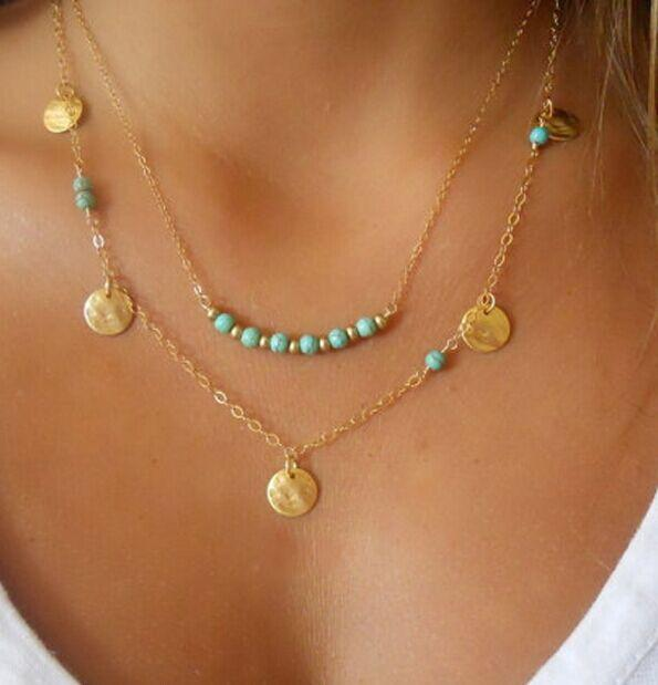 Antique Coin Bejeweld Turquoise Duet-Layered Necklace