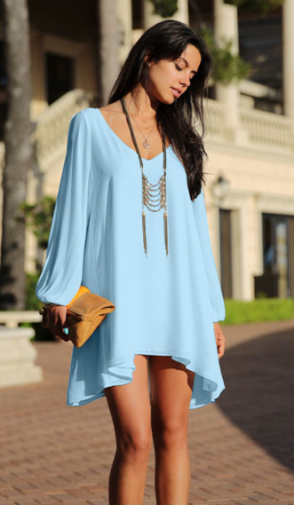 Casual Split Sleeve Loose Fit Chiffon Dress