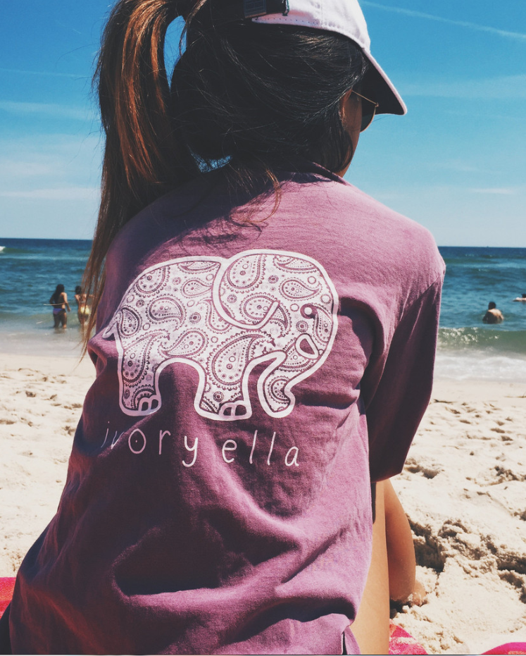 Purple Elephant Print Long Sleeve Shirt