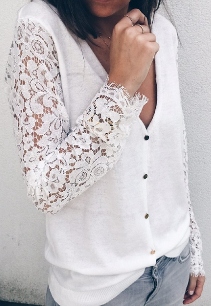 Delicate Lace Sleeve Button Down T-shirt