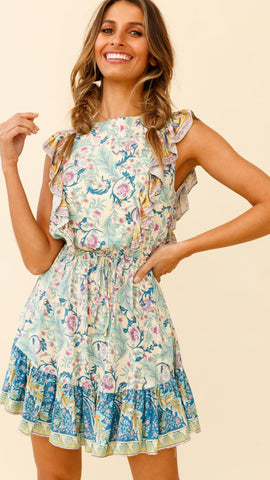 Multicolor Floral Sleeveless Frill Trim Dress