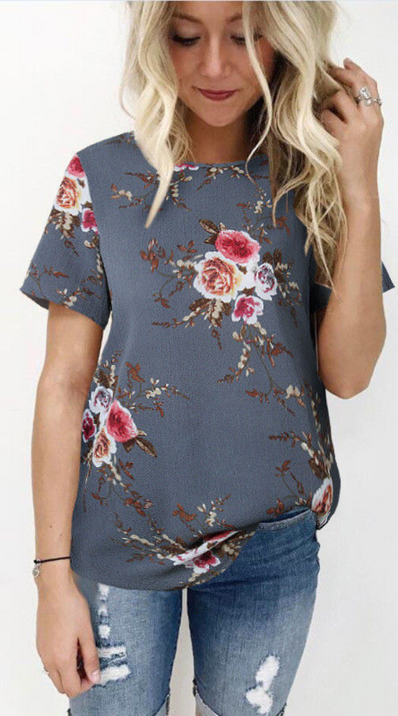 Gray Floral Chiffon Short Sleeve Top