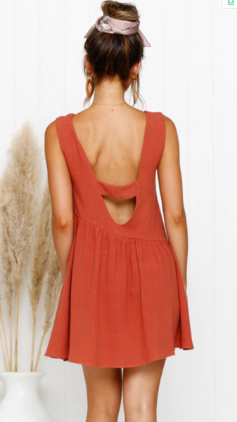 Orange Red Backless Linen Shift Dress